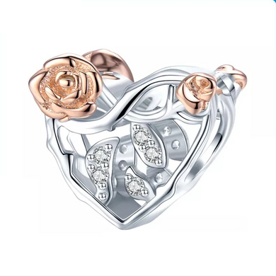 925 Sterling Silver Two tone Rose Garden Pandora Compatible Charm