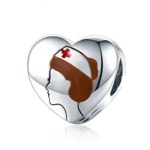 925 Sterling Silver Nurse Heart Pandora Compatible Bead Charm