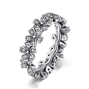 925 Sterling Silver CZ Stackable Daisy Flower Ring