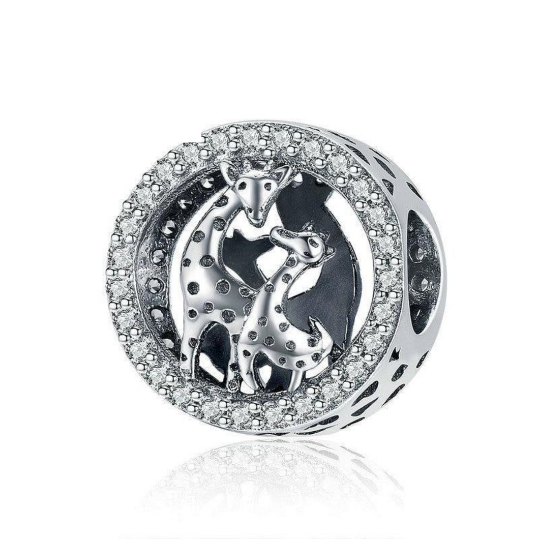 925 Sterling Silver Mother and Baby Giraffe Pandora Compatible Bead Charm