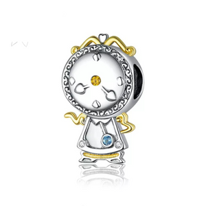 925 Sterling Silver Beauty and the Beast Clock Pandora Compatible Bead Charm