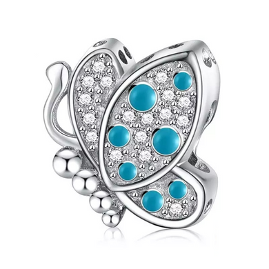 925 Sterling Silver Blue Butterfly Pandora Compatible Dangle Charm
