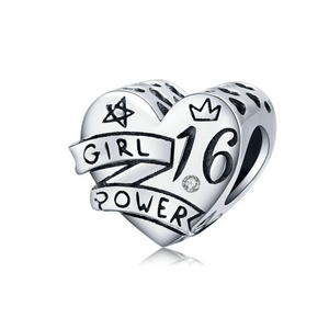 925 Sterling Silver 16 Girl Power Heart Pandora Compatible Bead Charm