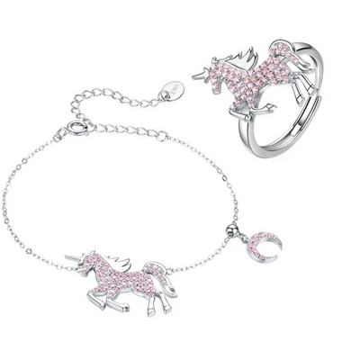 925 Sterling Silver Pink CZ Unicorn Bracelet and Ring Jewellery Set