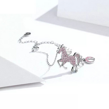 Load image into Gallery viewer, 925 Sterling Silver Pink CZ Unicorn Bracelet and Ring Jewellery Set