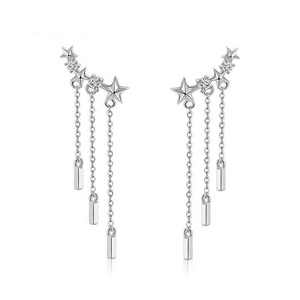 925 Sterling Silver Long Chain Dazzling CZ Star Drop Earrings