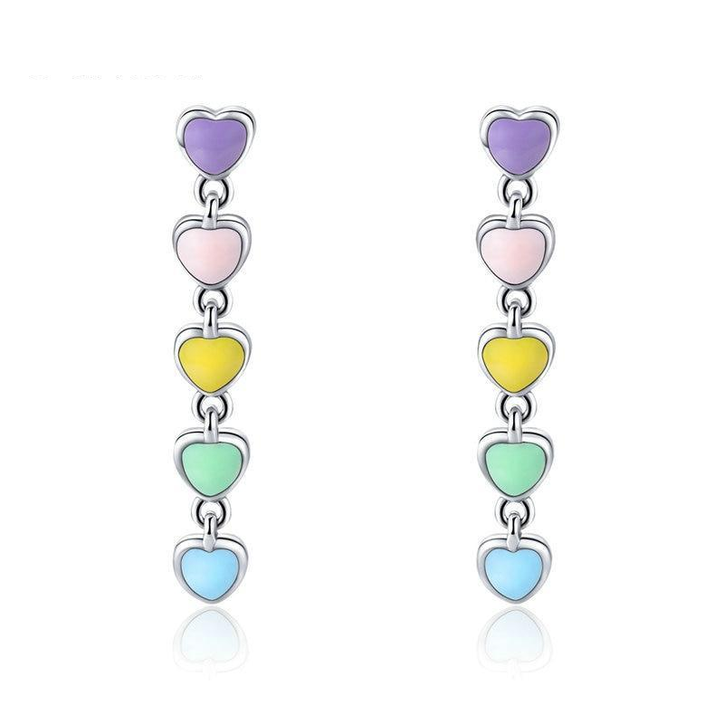 925 Sterling Silver Rainbow Colourful Enamel Heart Drop Earrings