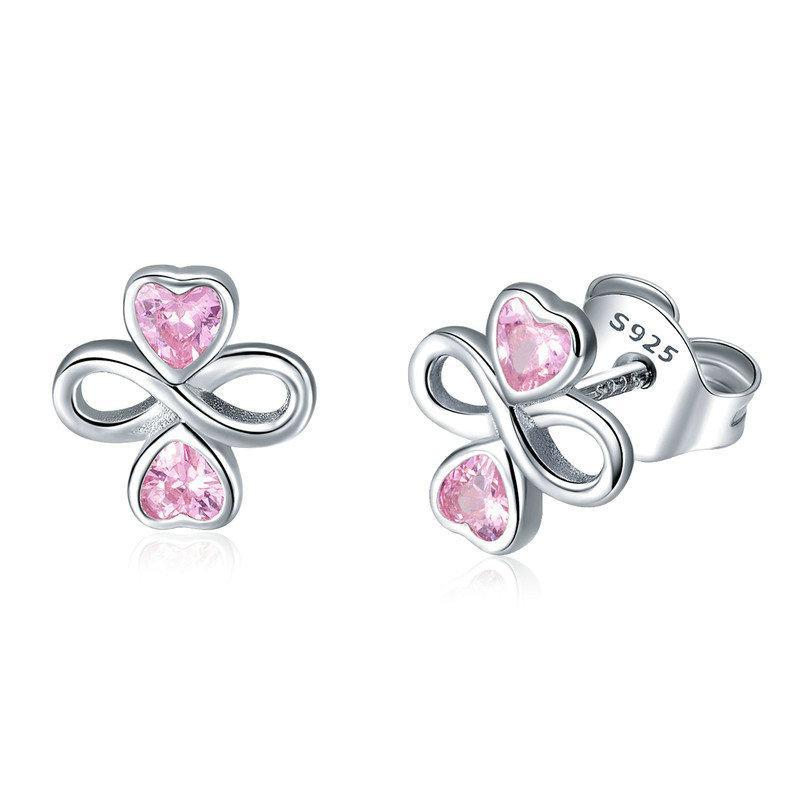 BAMOER Real 925 Sterling Silver Infinite Love Pink  Heart Clover Small Stud Earrings for Women Authentic Silver Jewelry SCE455