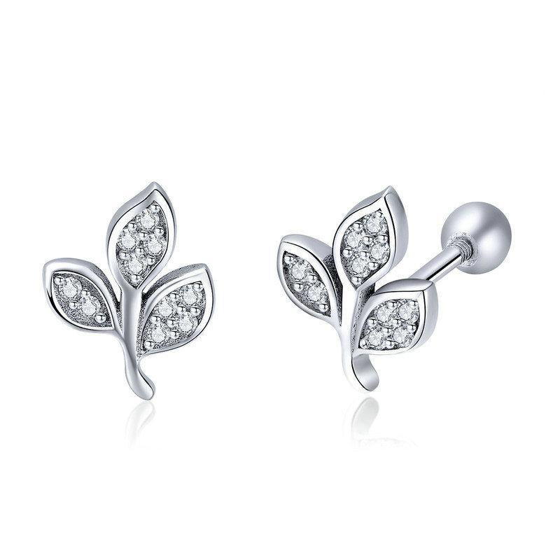 925 Sterling Silver Tree of Life Dazzling CZ Tree Leaves Stud Earrings
