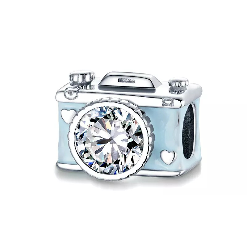 925 Sterling Silver Blue Camera Pandora Compatible Bead Charm