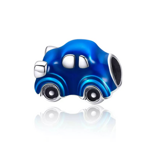 925 Sterling Silver Blue Car Enamel Pandora Compatible Bead Charm