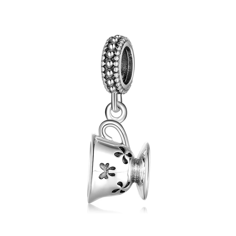 925 Sterling Silver Tea Cup Pandora Compatible Dangle Charm