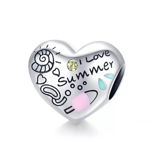 925 Sterling Silver I Love Summer Heart Pandora Compatible Bead Charm