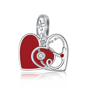 925 Sterling Silver Red Enamel Stethoscope Heart Pandora Compatible Dangle Charm