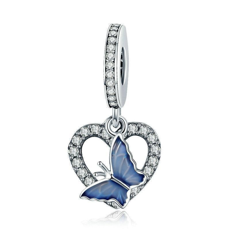 925 Sterling Silver CZ Blue Butterfly with Heart Pandora Compatible Dangle Charm