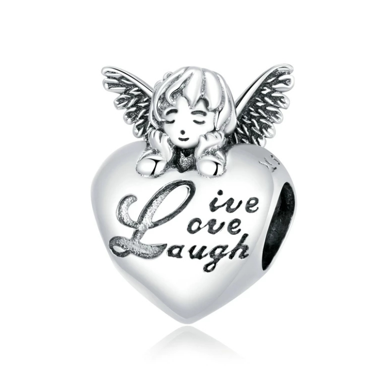 925 Sterling Silver Live, Love, Laugh Angel Heart Pandora Compatible Bead Charm