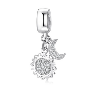925 Sterling Silver CZ Star and Moon Pandora Compatible Dangle Charm