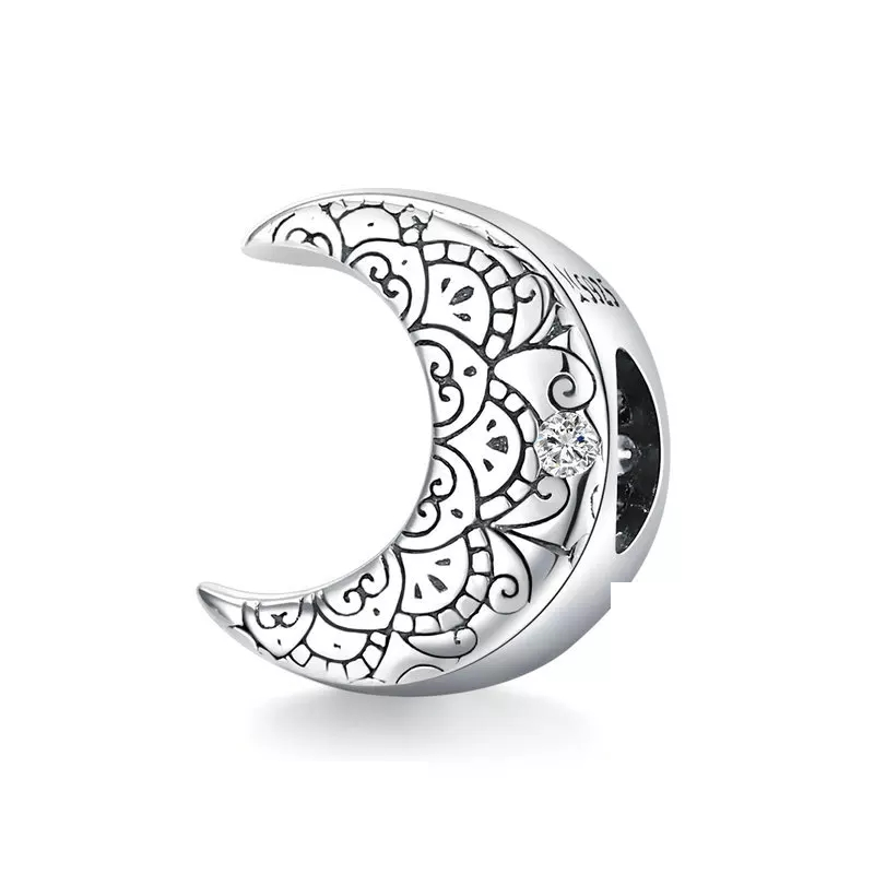 925 Sterling Silver Retro Moon Pandora Compatible Bead Charm