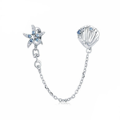 925 Sterling Silver Blue CZ Starfish and Shell Pandora Compatible Safety Chain