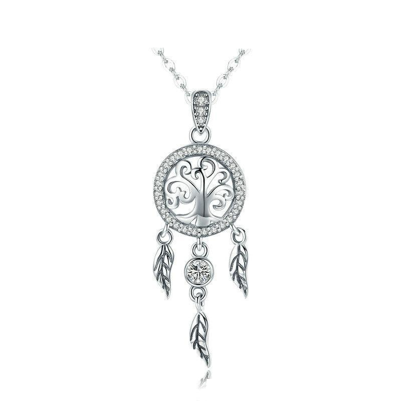 925 Sterling Silver Tree of Life Fashion Dream Catcher Pendant Necklace