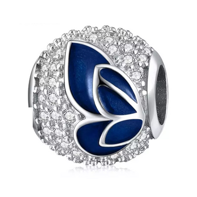 925 Sterling Silver Blue Enamel and CZ Butterfly Ball Pandora Compatible Bead Charm