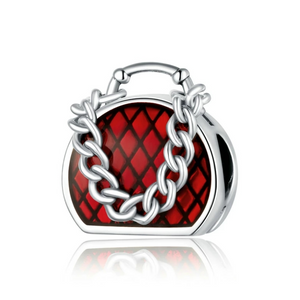 925 Sterling Silver Red Handbag Pandora Compatible Charm