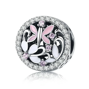 925 Sterling Silver CZ Pink and White Butterfly and Dragonfly Motive Pandora Compatible Bead Charm