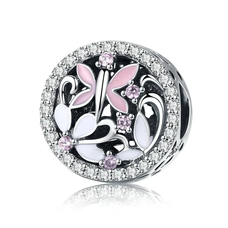 925 Sterling Silver CZ Pink and White Butterfly and Flower Motive Pandora Compatible Bead Charm