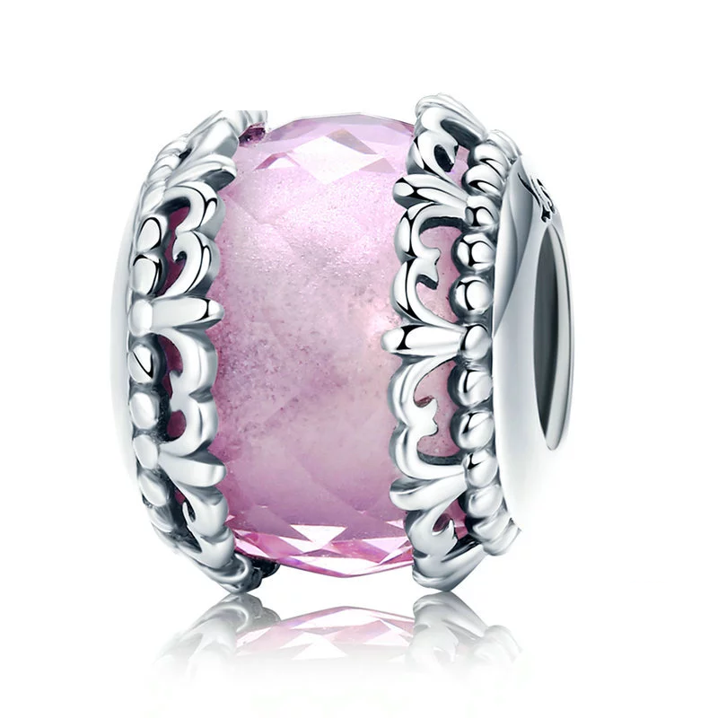 925 Sterling Silver Vintage Pink Murano Pandora Compatible Charm