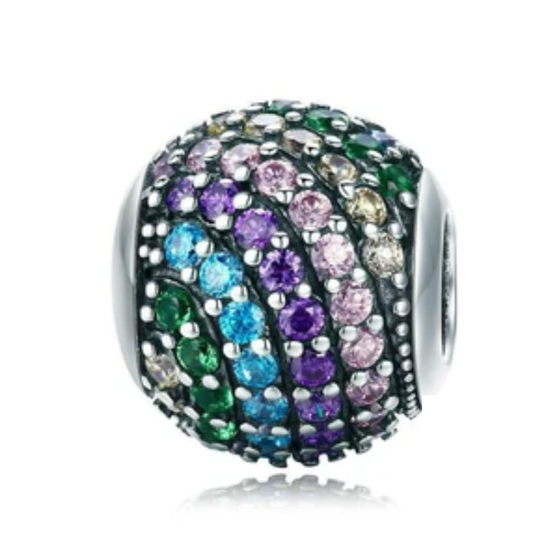 925 Sterling Silver Rainbow Charm Color Crystal CZ Beads