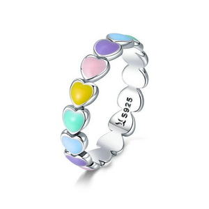 925 Sterling Silver Stackable Colourful Rainbow Enamel Hearts Ring