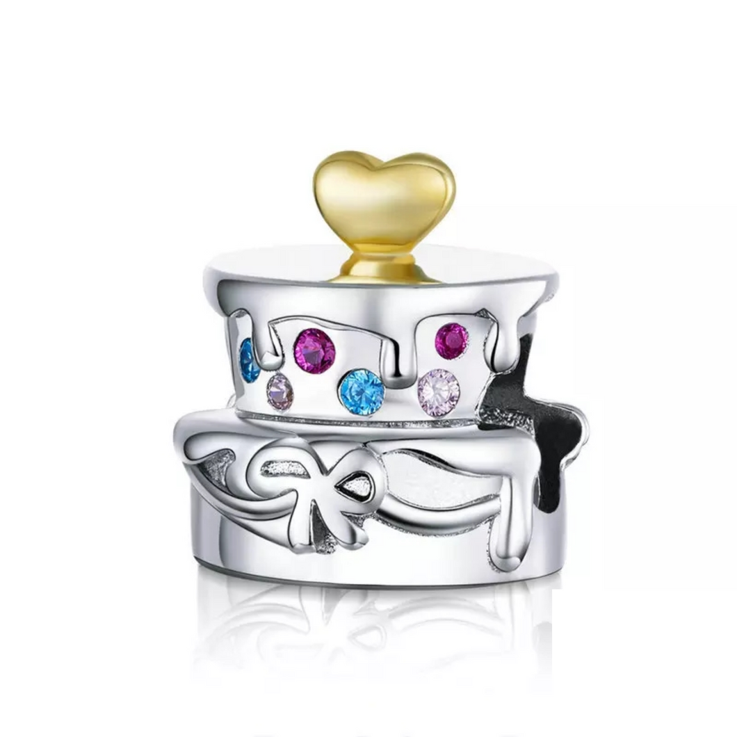 925 Sterling Silver Wedding Cake Pandora Compatible Bead Charm