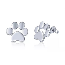 Load image into Gallery viewer, 925 Sterling Silver Paw Print Stud Earrings