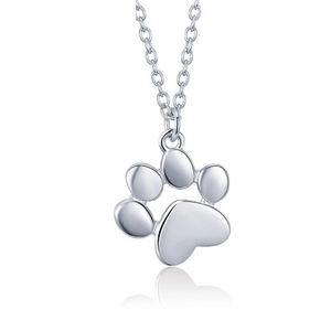 925 Sterling Silver Paw Print Necklace