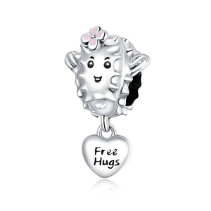 925 Sterling Silver Free Hugs Cactus Pandora Compatible Bead Charm