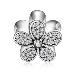 925 Sterling Silver CZ Daisy Pandora Compatible Bead Charm