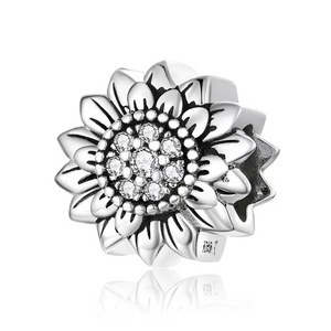 925 Sterling Silver Sunflower Pandora Compatible Dangle Charm