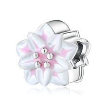 Load image into Gallery viewer, 925 Sterling Silver Pink and White Flower Pandora Compatible Dangle Charm