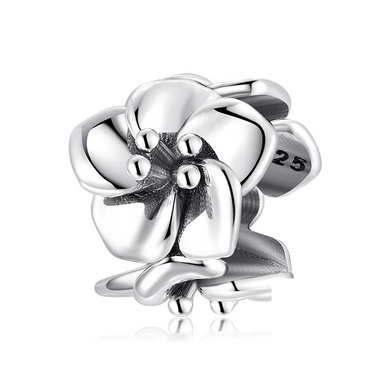 925 Sterling Silver Flower Spacer Pandora Compatible Dangle Charm