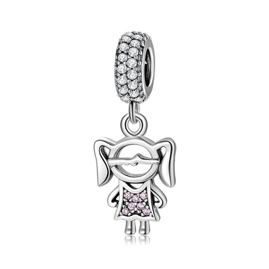 925 Sterling Silver Girl Pandora Compatible Bead Charm