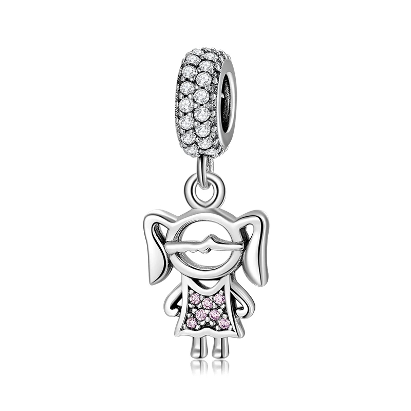 925 Sterling Silver Pink CZ Girl Pandora Compatible Dangle Charm