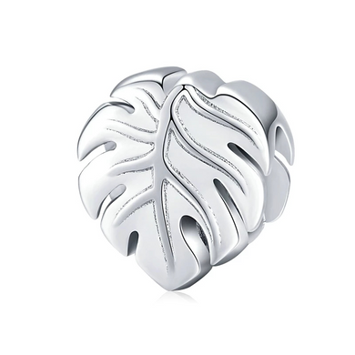 925 Sterling Silver Plain Leave Pandora Compatible Bead Charm