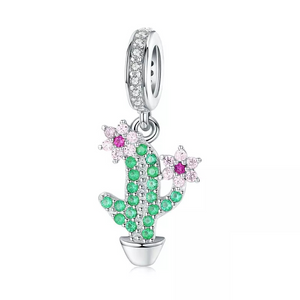 925 Sterling Silver Micro CZ Cactus Pandora Compatible Charm