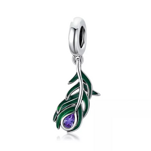 925 Sterling Silver Peacock Feather Pandora Compatible Dangle Charm