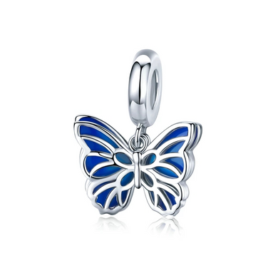 925 Sterling Silver Blue Butterfly Heart Pandora Compatible Dangle Charm