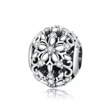 925 Sterling Silver Carved Snowflake Pandora Compatible Charm