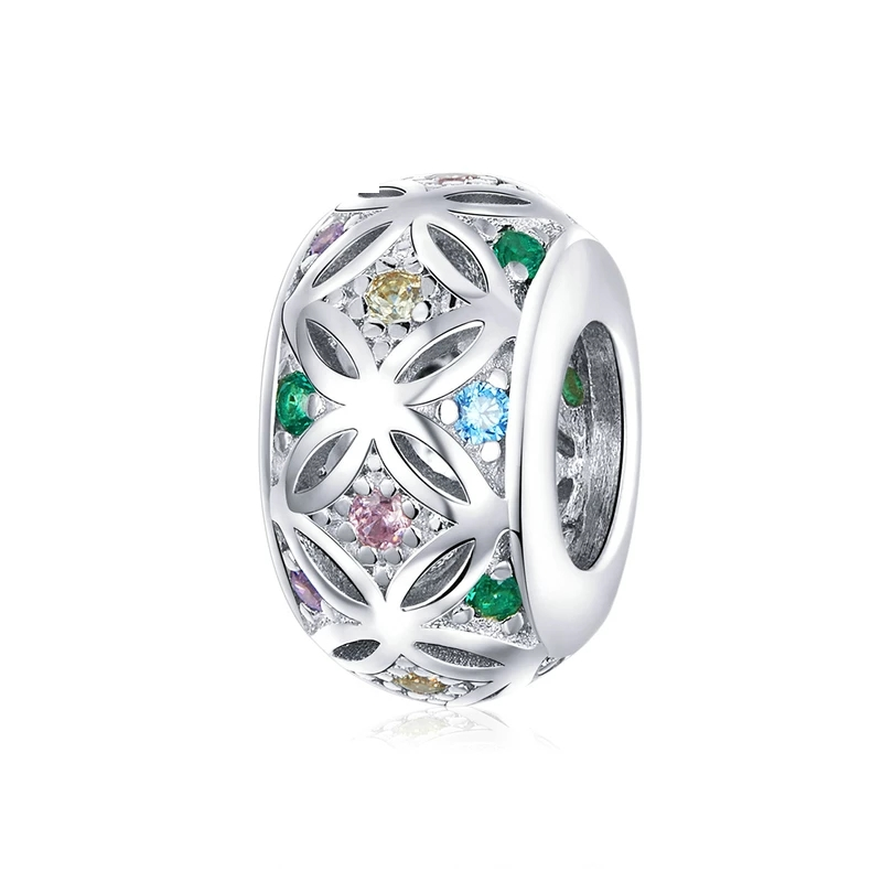 925 Sterling Silver Colourful CZ Pandora Compatible Spacer