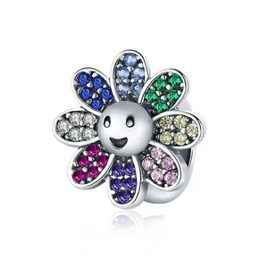 925 Sterling Silver Colour CZ Daisy Pandora Compatible Spacer/Stopper