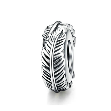 925 Sterling Silver Feather Pandora Compatible Spacer