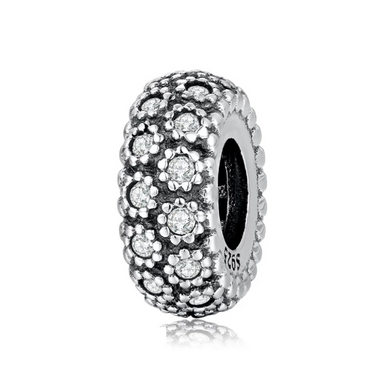 925 Sterling Silver Flower Pattern CZ Pandora Compatible Spacer